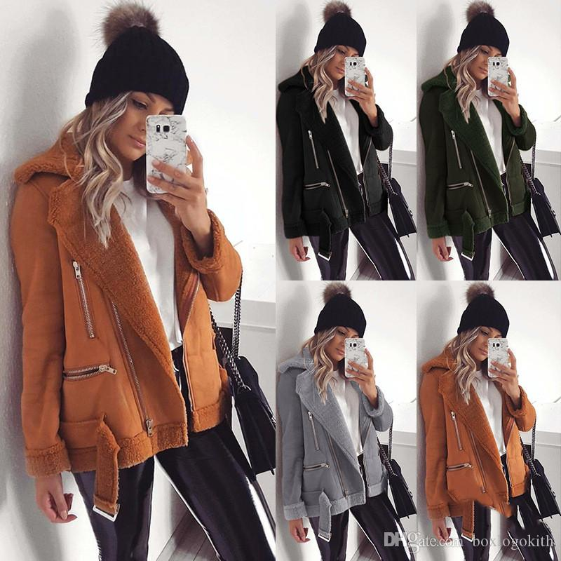Women Winter Coats Solid Color Casual Long Sleeved Warm Lapel Neck Thick Jackets Womens Fashion Coats
