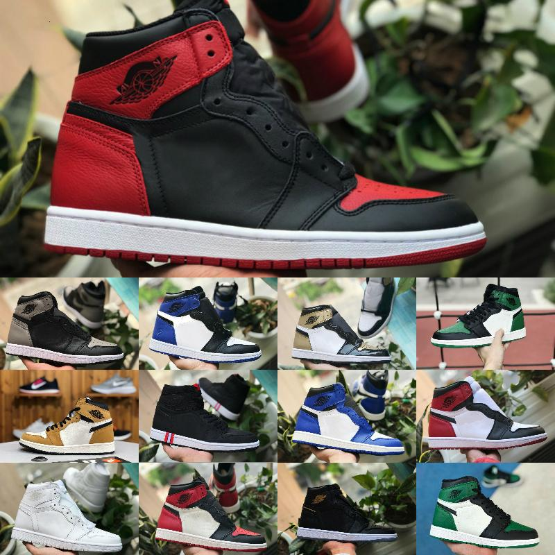 Sales 2019 New High OG Mens 1 Basketball Shoes Cheap Royal Banned Shadow Red Black Blue White Toe Shoe Cheap Women 1s Chicago Sneakers