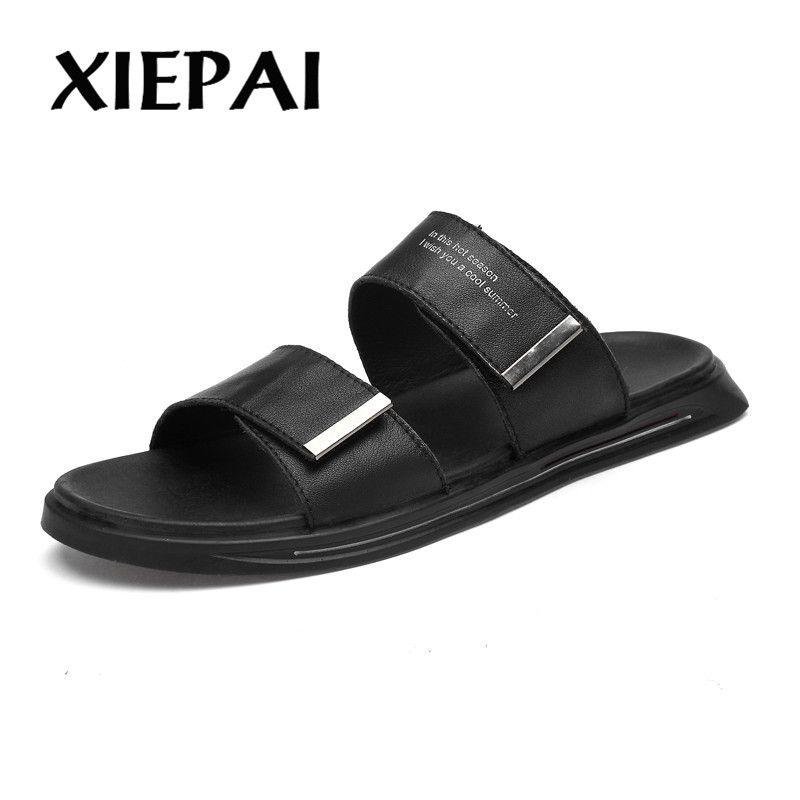 Scarpe da uomo in vera pelle Sandali da uomo 2019 Sandali da spiaggia estivi Scarpe da uomo Moda Pelle di mucca Uomo Nero Bianco