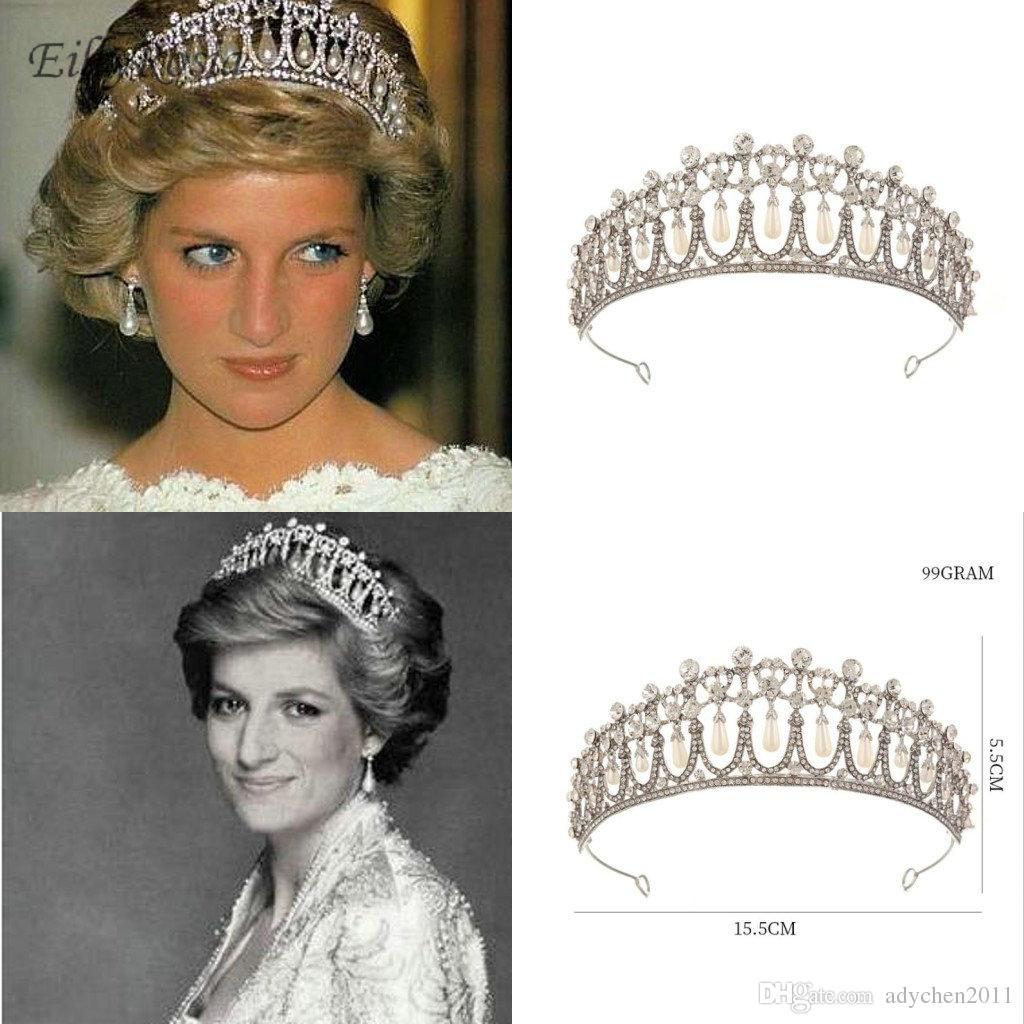 New Princess Diana Crown Crystal and Pearl for Bridal Hair Accessories Vintage Bridal Tiara Crown Wedding Hair Jewelry Royal