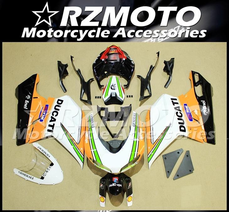 Injection Mold New ABS Fairings set Fit For Ducati 848 1098 1198 1098s 1098R EVO 2007 2008 2009 2010 2011 2012 Custom White Orange Black
