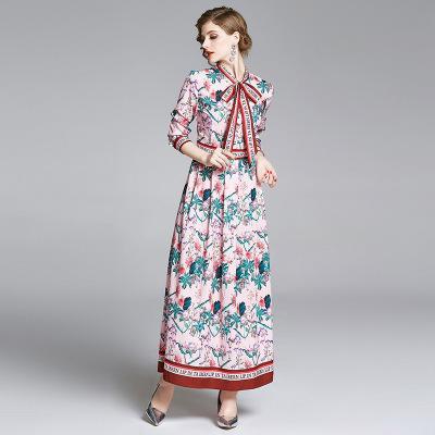 Fashion neue Entwurfs-Frauen lange Kleider Nizza-Band-Bogen-Drucken-Kleid von Lady Frühling und Herbst Casual Wear