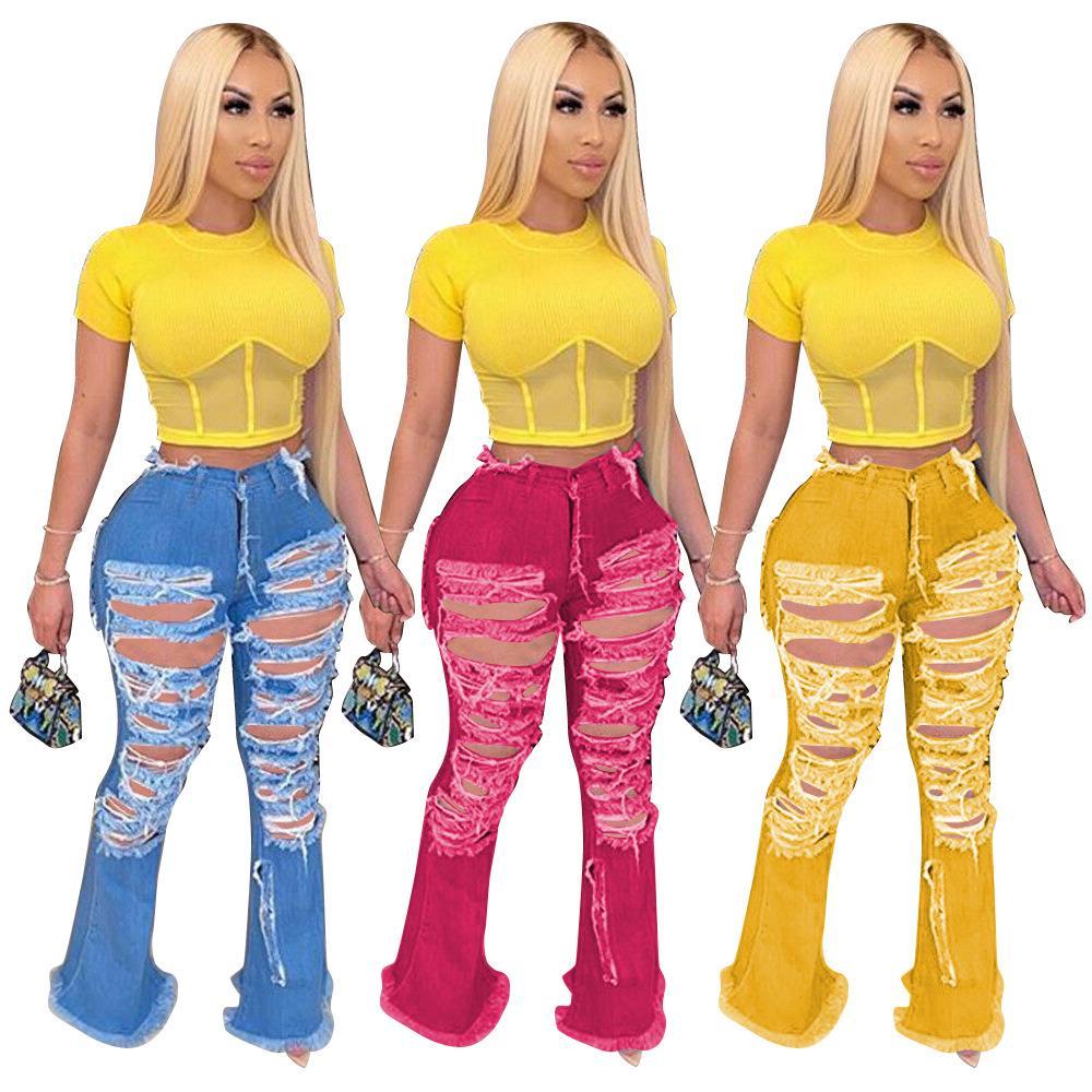 Kadınlar Yırtık Delik Flare Kot Moda Sıkı Yüksek Bel Yıkanmış Jeans Yeni Casual Kadın Tasarımcı Pantolon