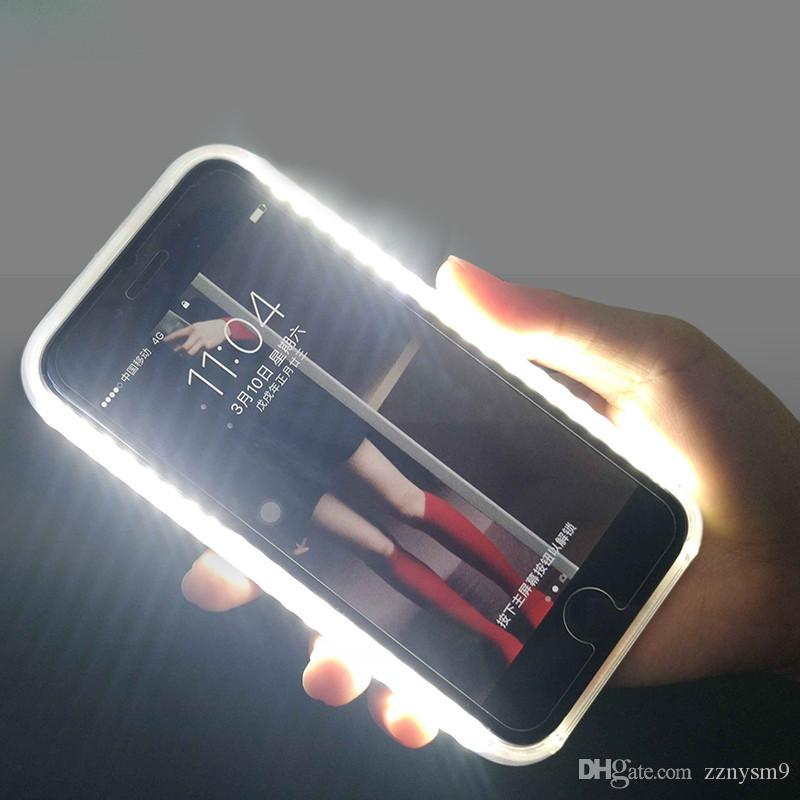 Luxury Luminous Phone Case For iPhone 6 6s 7 8 Plus X Perfect Selfie Light Up Glowing Case Cover for Samsung s6 7 8 9 Protective case FT36