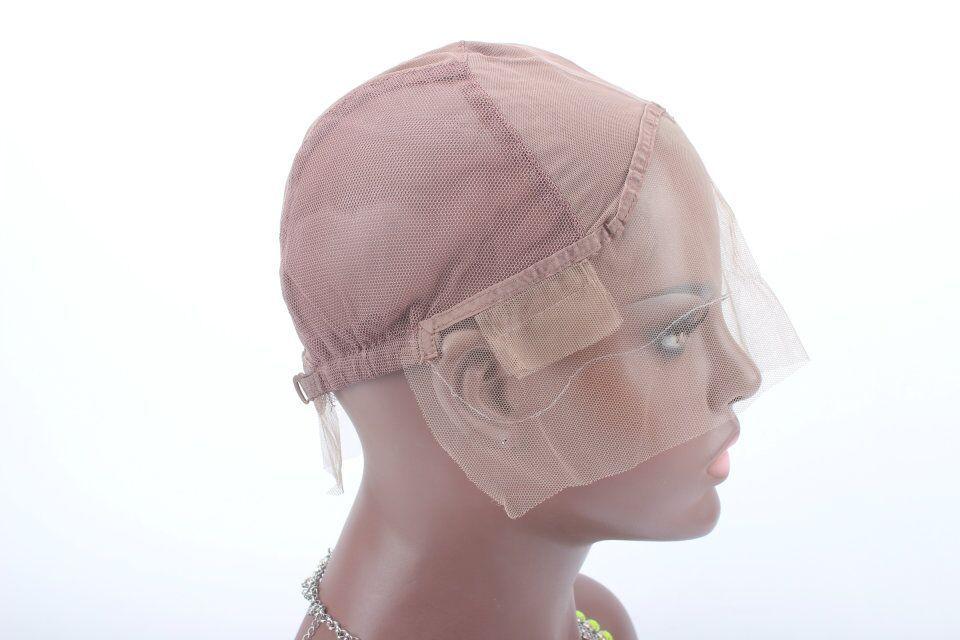 레이스 가발 캡 가발을 만들기위한 조절 가능한 스트랩 백 스위스 레이스 전체 프론트 레이스 가발 모자 가발 짜내 머리 확장