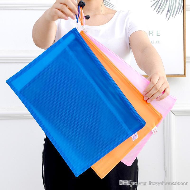 تصنف تخزين القرطاسية حقيبة شبكة سحاب ملف مجلد كيس من البلاستيك للماء وثيقة ثخن ملف الجيب المحفوظات حقائب BC BH1488