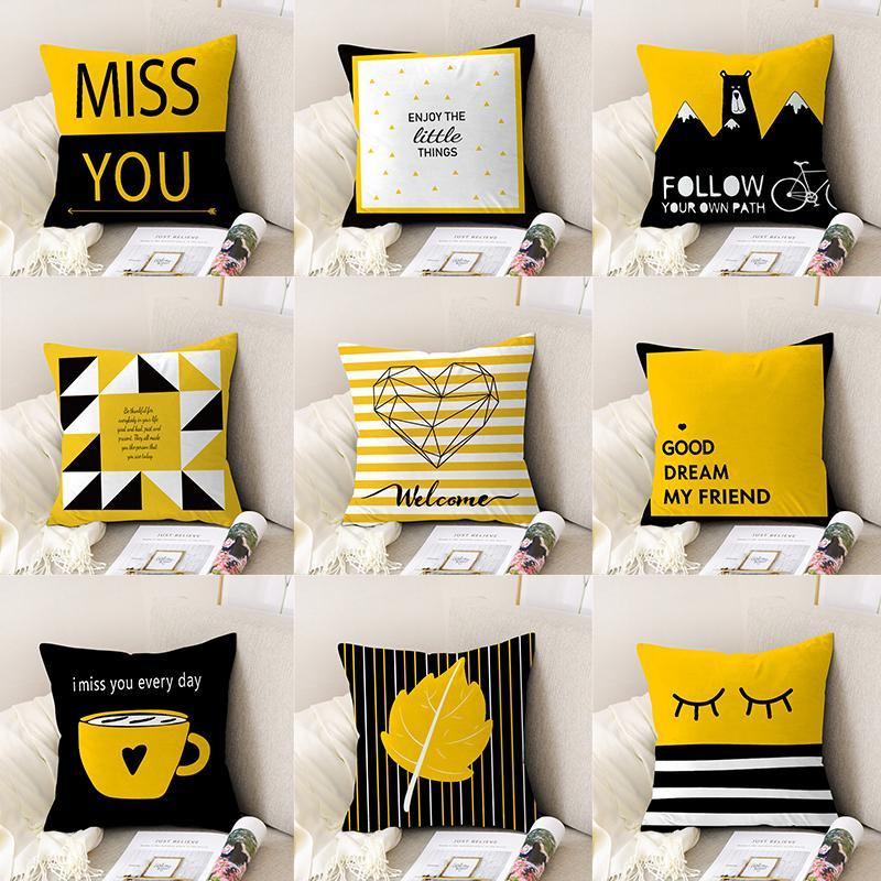 Mode Gelb und Schwarz Karikatur-Bären-Giraffe Dekokissen Fall Geometrische Kissenüberzüge für Heim-Sofa-Stuhl Dekorative Kissen-