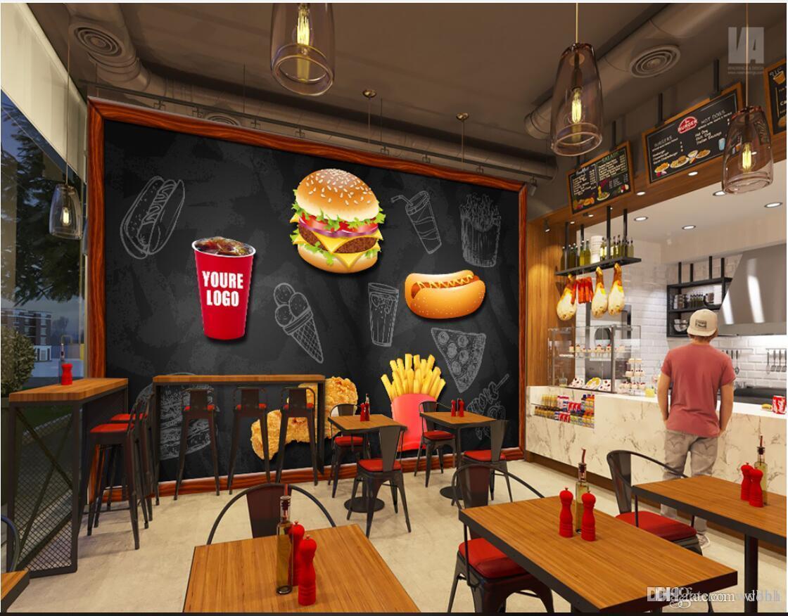 3d wallpaper custom photo mural Vintage Blackboard Western Style Fast Food Background murals wallpaper 3d landscape wall tapestry 3d