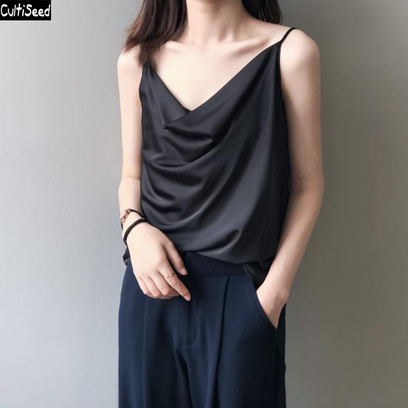 Femmes Sexy camisoles Tops 2020 Nouveau Mode bretelles spaghetti sangle de base Débardeur dames Faux en satin de soie solide Casual camisoles T-shirts