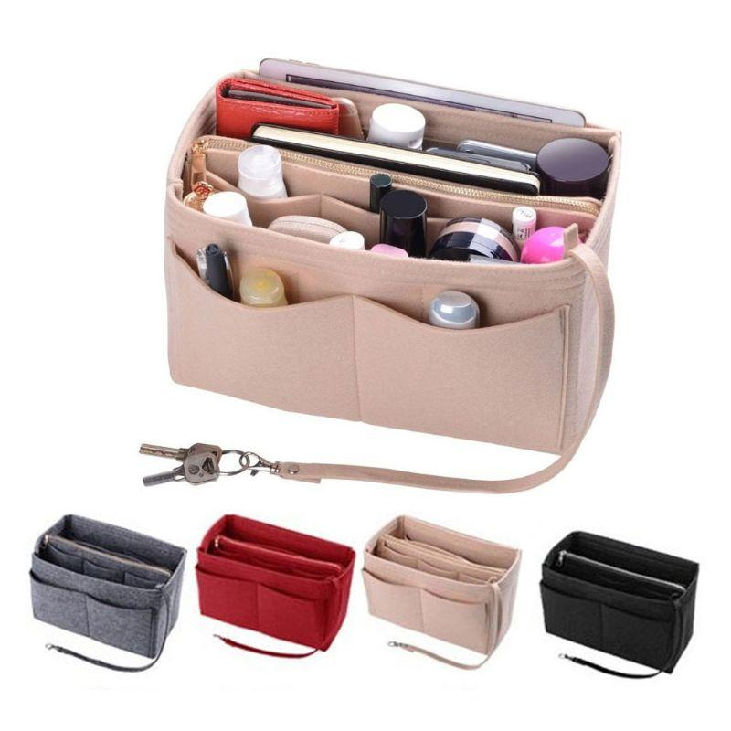 Fashion New Women Multi Pocket Felt Cosmetic  Bag Organizer Multifunction Insert Storage Tote Fabric Bag Handbag S/M/L