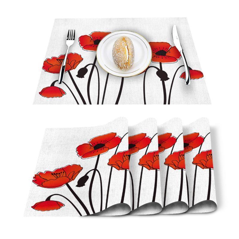 Flor de la amapola roja Planta Naturaleza mantel para la mesa de comedor antideslizante y antitérmicos la estera de tabla decoración Mantel