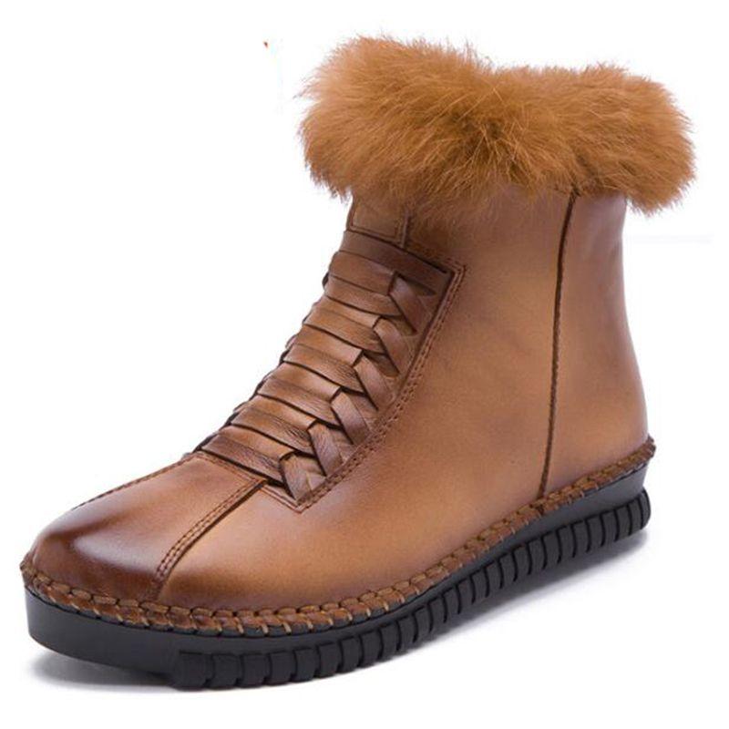 Kadınlar Kış Kar Boots Gerçek Deri Ayak bileği Bahar Düz Ayakkabı Kadınlar Lace Up Botaş Mujer dd455 için Kürk ile Kadın Kısa Botaş
