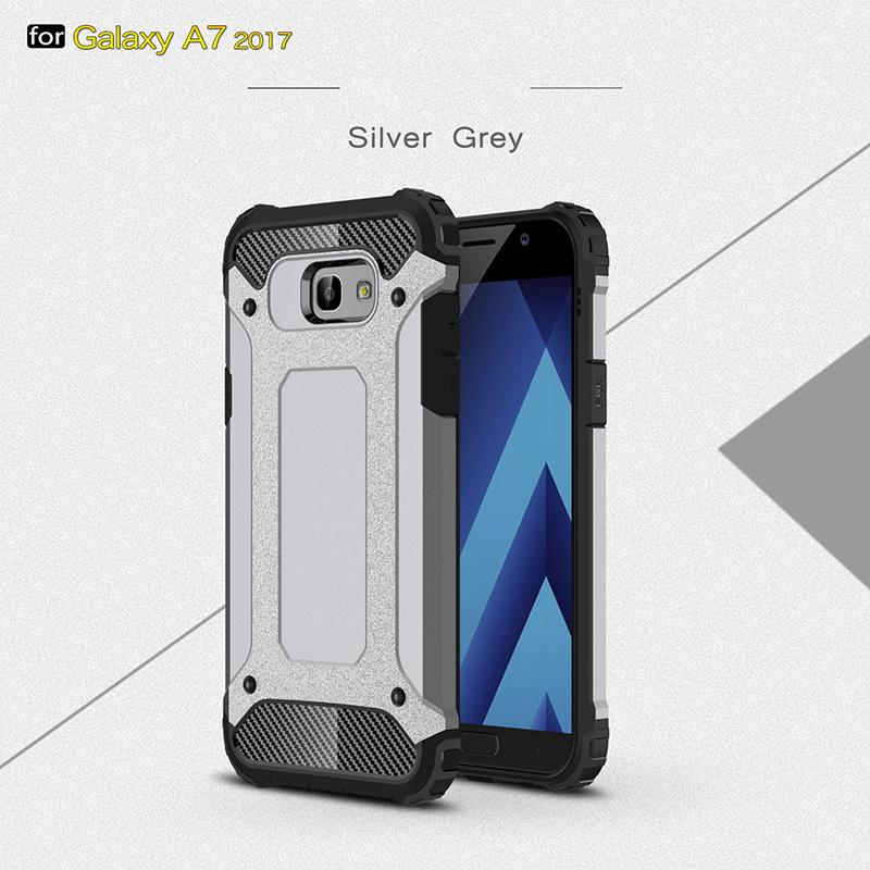 Dual Layer Heavy Duty Armor Shockproof Reinforced Bumper Case for Samsung A7 2017 Hybrid Back Cover