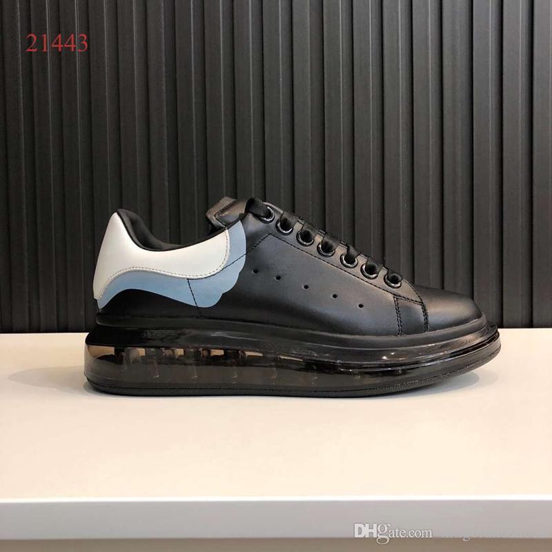 les plus récentes chaussures de semelles épaisses augmentent sneaker en cuir taille des femmes de taille véritable plate-forme chaussures de sport noir blanc arrière