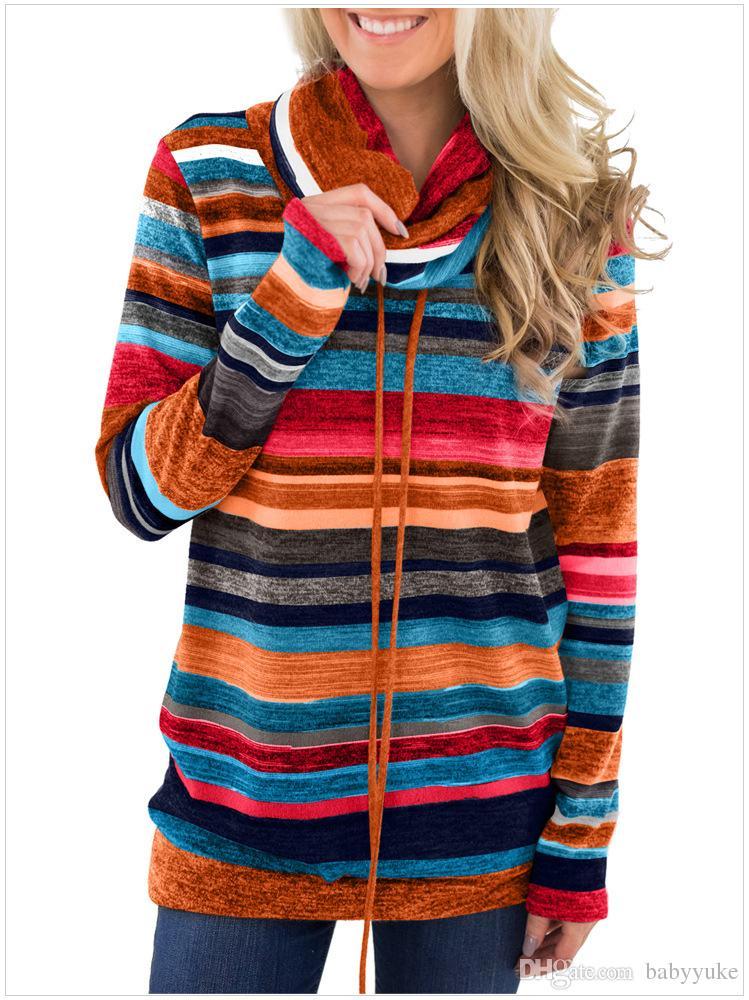 одежда дамы топ пуловер свитер многоцветный полосатый с длинным рукавом женская трикотаж тройники женщина топы одежда 192