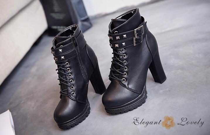 Più nuova vendita calda rivetti in pelle moto per le donne tacco spesso stivaletti alla moda scarpe cool dha24