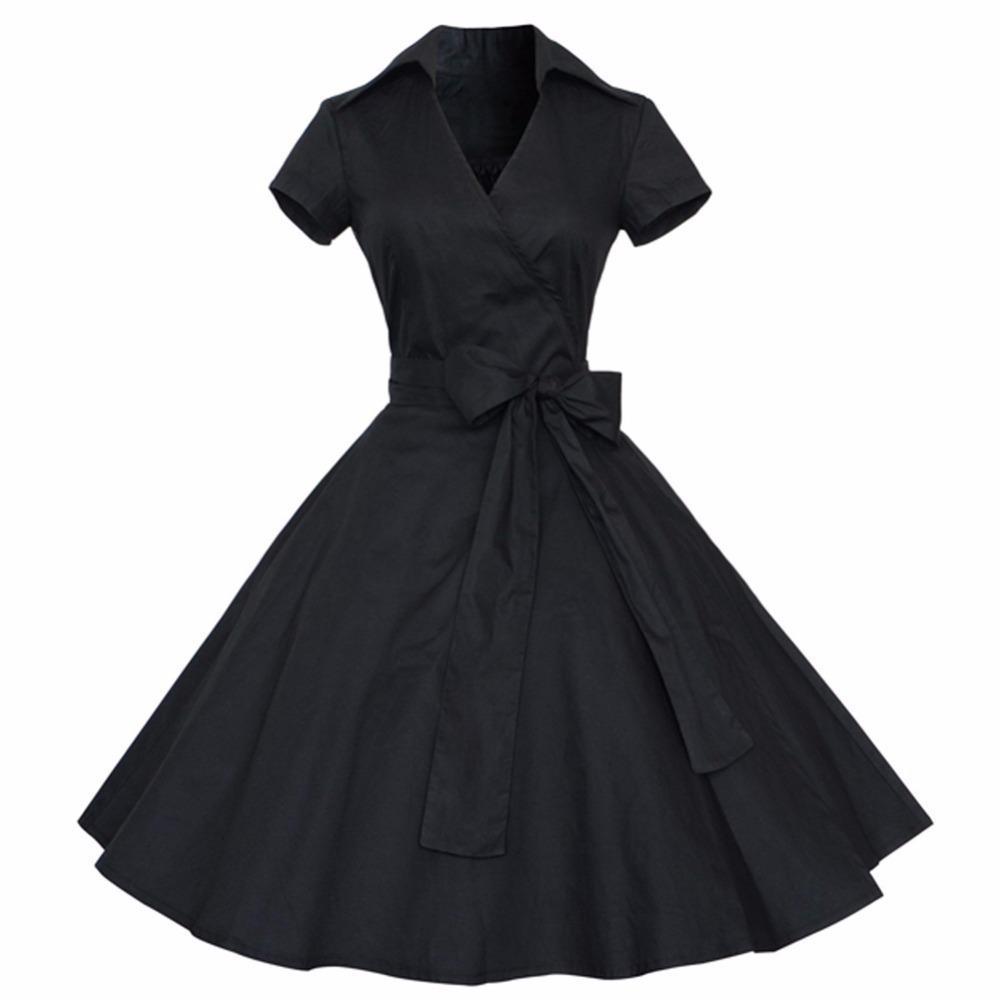 großhandel frauen rockabilly kleid retro pinup hepburn v ausschnitt bogen  ballkleid tunika schaukel frau 50er jahre 60er jahre gürtel kleider  feminino