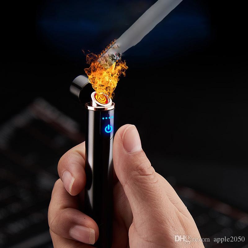 Mini USB Isqueiros Touch-senstive Chave Isqueiro Isqueiro à prova de vento Flameless eletrônico recarregável isqueiro para fumar quente