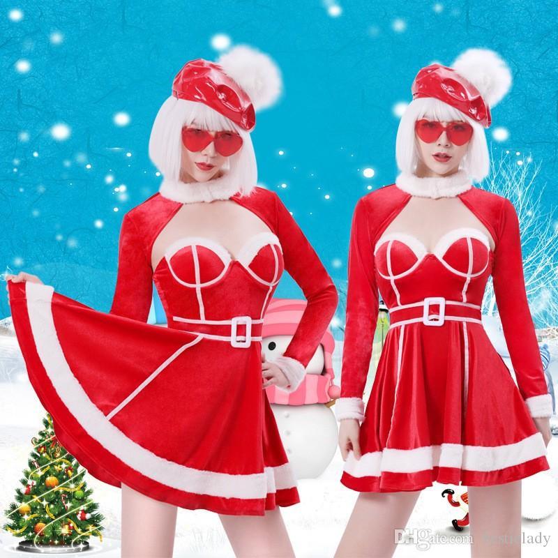 Costume rosso di Natale Babbo Spregiudicatezza età Donne Vestitino velluto aderente e maniche lunghe con Bolero Bianco Furzzy Trim (No Hat e vetro)