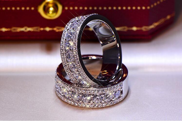 Funkelnder Luxus Schmuck 925 Sterling Silber Pave White Topas CZ Diamant Ewigkeit Dame Mode Frauen Hochzeit Band Ring Für Liebhaber Geschenk