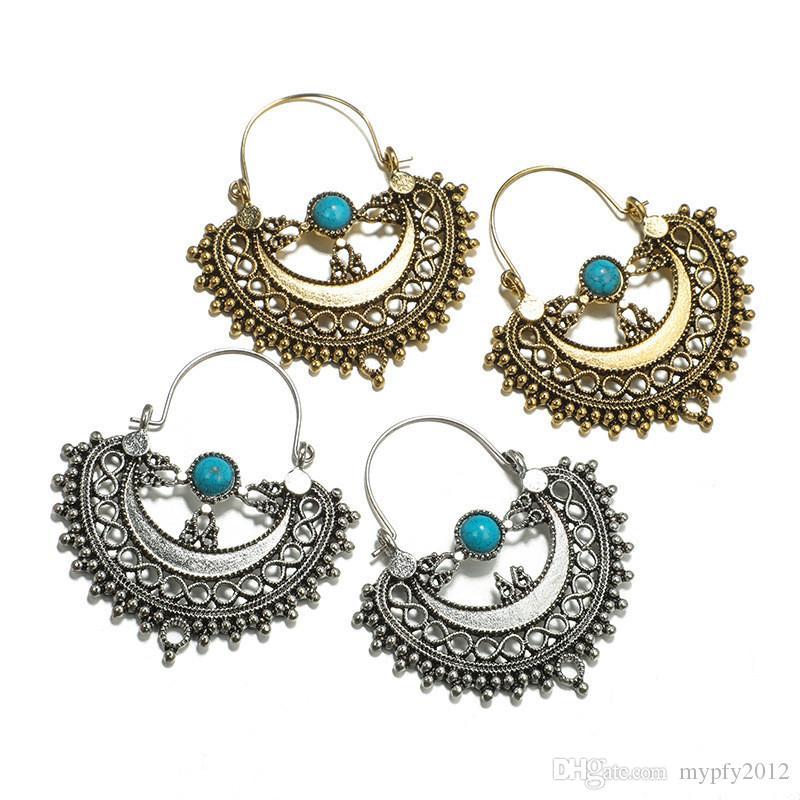 New Vintage Argent Couleur géométrique Dangle Boucles d'oreilles pour les femmes Boho Blue Style Gemstone Déclaration d'oreilles de cadeaux de fête YG
