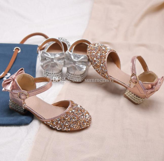 Silver Color Cute Summer Kids Sandals Rhinestone Girls Flats Youth Shoes Size 4