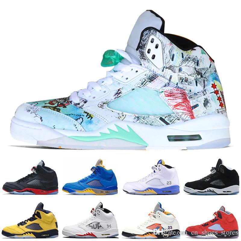 5 5s Kanatlar Siyah Üzüm Erkekler Basketbol Ayakkabı Siyah Beyaz SUP Kamuflaj sayım Paketi Mavi Süet Erkek Eğitmenler Spor Sneakers ABD 7-13