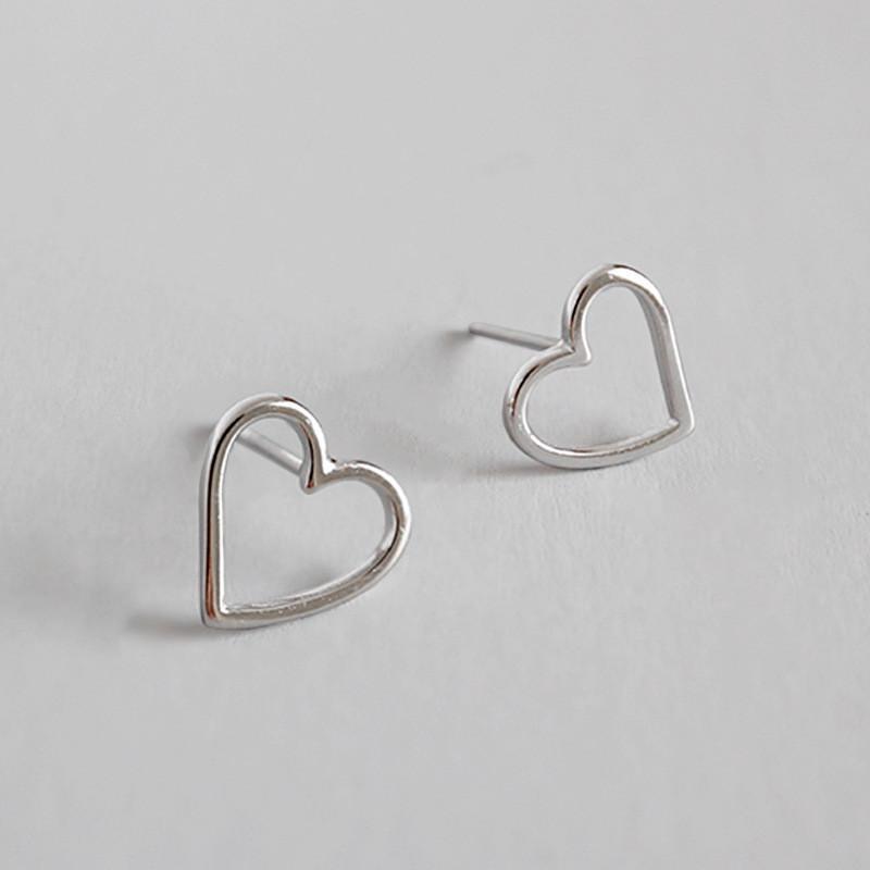 100 % 진짜 925 스털링 실버 스터드 귀걸이 귀여운 작은 빈 심장 귀걸이 선물 여자 아이 좋은 파티 쥬얼리 YME168