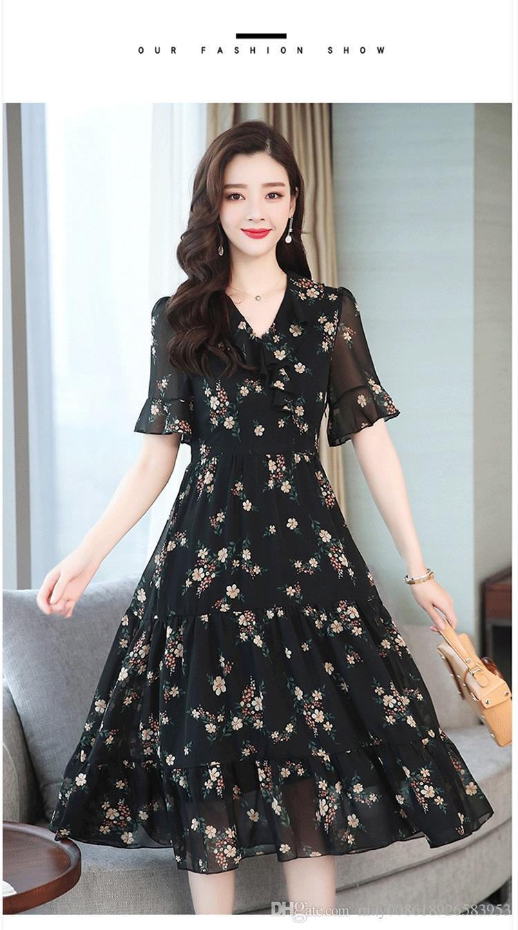 SS Şifon elbise kadın 2019 yeni bahar ve yaz ince zayıflama mizaç