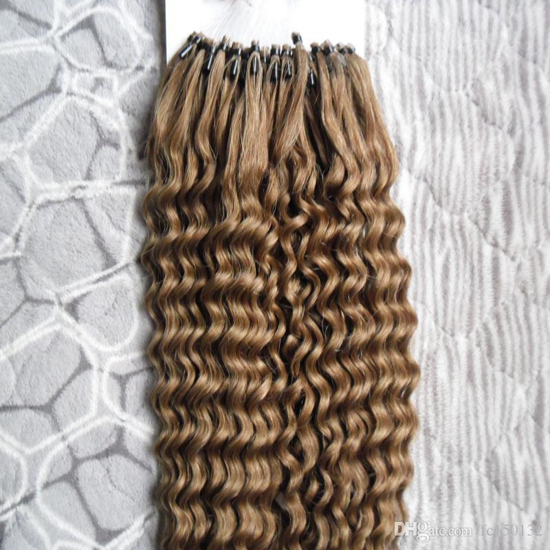 Mongolische kinky lockige mikro loop ring haarverlängerungen 100g schlaufe mikro ring haar 1g / s 100g / pack 100% menschliche mikroperlen Links remy haare