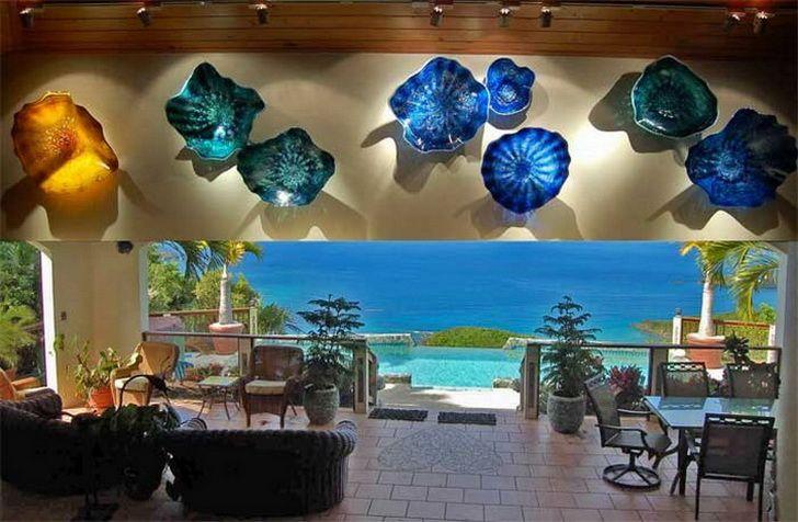 Luz a la pared de cristal sopladas placas de pared libre de color azul estilo Chihuly envío de días festivos por encargo