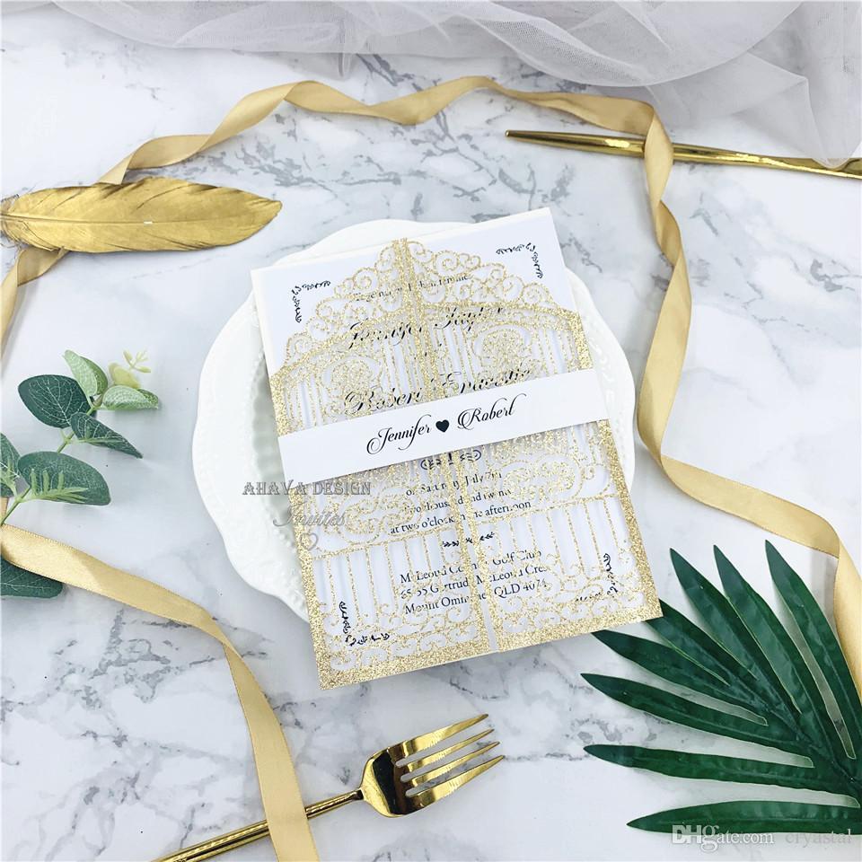 Glitter Champagne mariage Cartes d'invitation évider de poche avec bande ventre, invitations de mariage cartes imprimable gratuite, Livraison gratuite