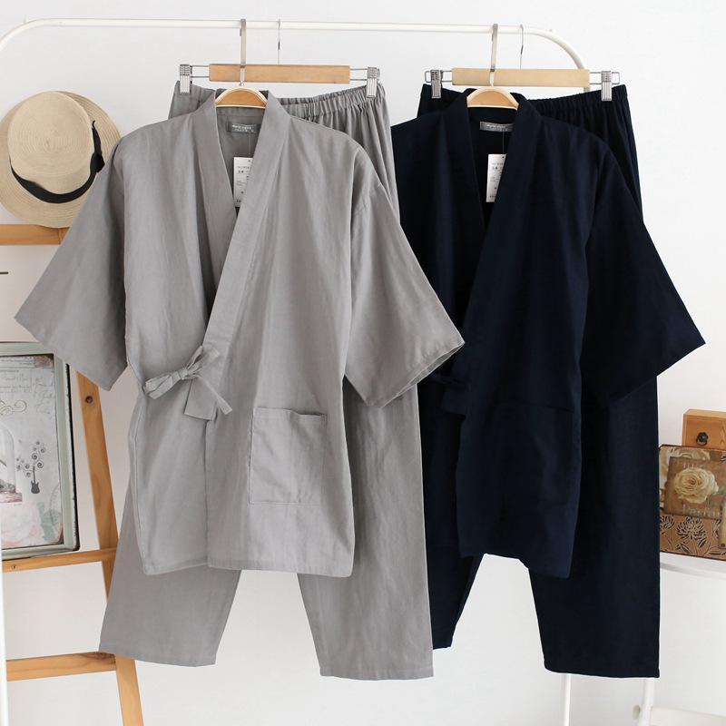 Qweek Sonbahar Erkek Pijama Setleri% 100% Pamuk Kimono Erkek Pijama Japon Tarzı Pijama Erkekler Yumuşak Ev Giyim 2 Parça Yüksek kalite MX190724