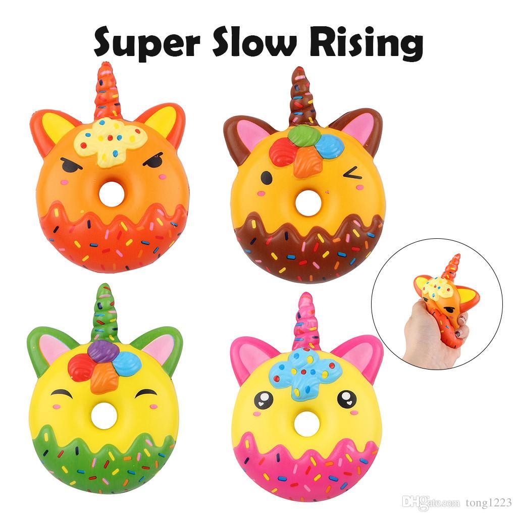 12CM Squishy Donut Unicorn Mobile Phone Straps Jumbo Squishy Slow Rising Pink Unicorn Doughnut Squeeze Fun Toy for Stop stress