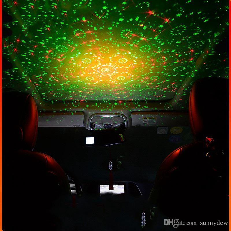 USB Auto Laser Star Light Car Decorazione Lampada Starry Sky Modifica interna Auto Tetto luce proiezione proiezione audio controllo atmosfera lampada
