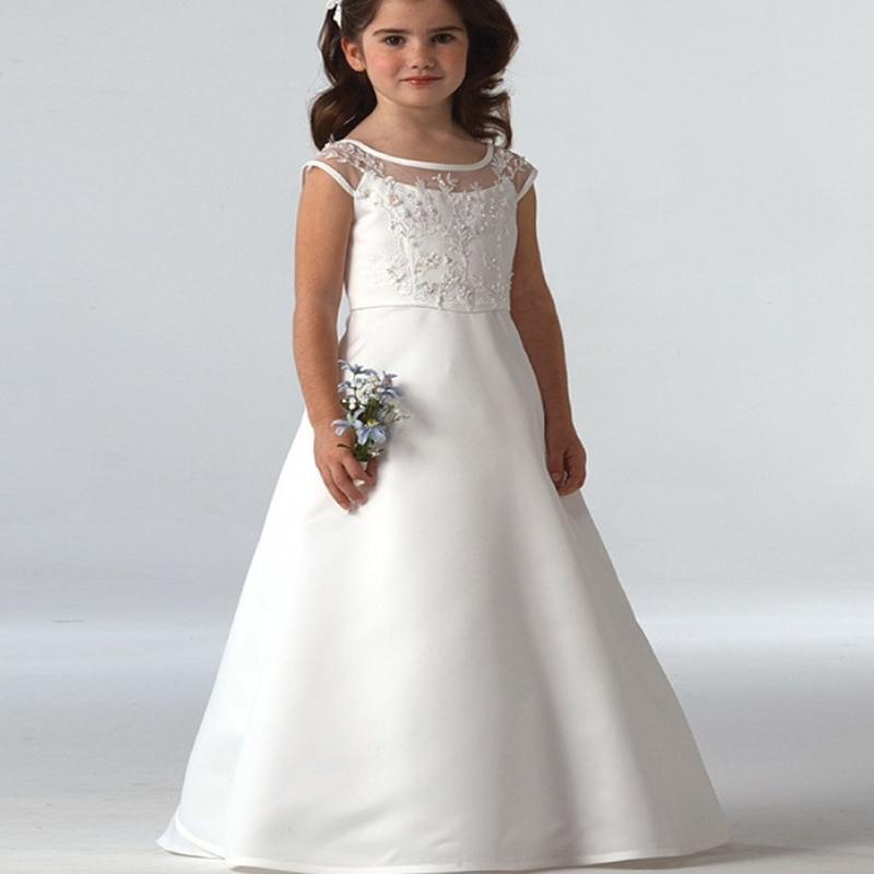 Nuevos vestidos para niñas de flores Apliques de encaje de alta calidad Rebordear Vestidos de baile Abalorios Hasta el suelo Desfile Vestidos de primera comunión