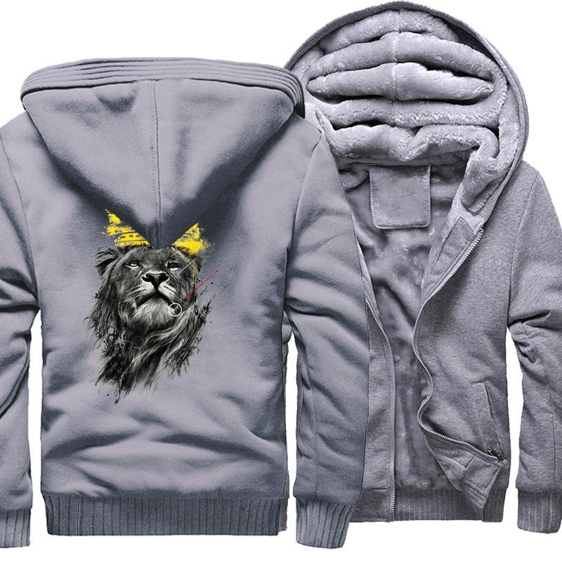 Kralı Aslan Baskı Hoodies Erkekler Için 2017 Yeni Varış Kazak Erkek Marka Giyim Kalın Hoody Hipster Moda Tişörtü erkekler