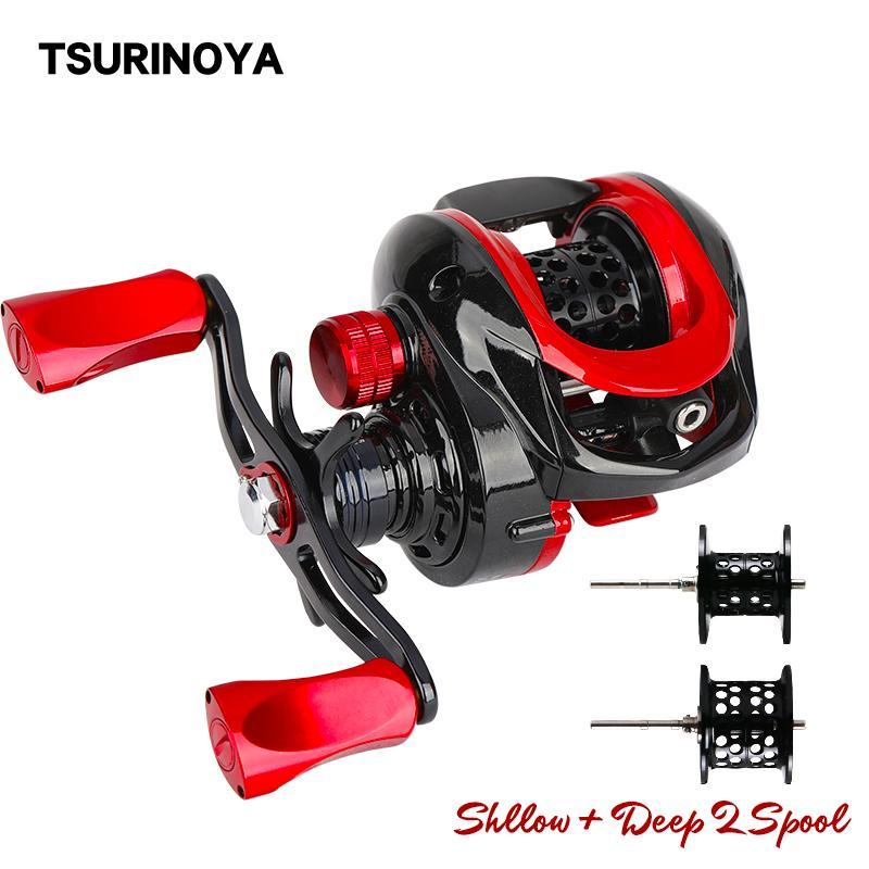Fishing s TSURINOYA 2 Spool Baitcasting Fishing Reel XF-50 Bait Finesse Ultralight Deep Shllow Spool TROUT Lure Reel Smooth Casting Reel