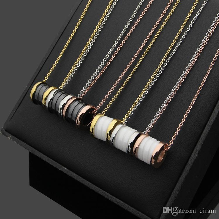 klassischer Titan Stahl Schwarz-Weiß-Keramik-Anhänger Halskette für Frauen Männer 18K vergoldete Liebe Halskette Mode-Accessoires