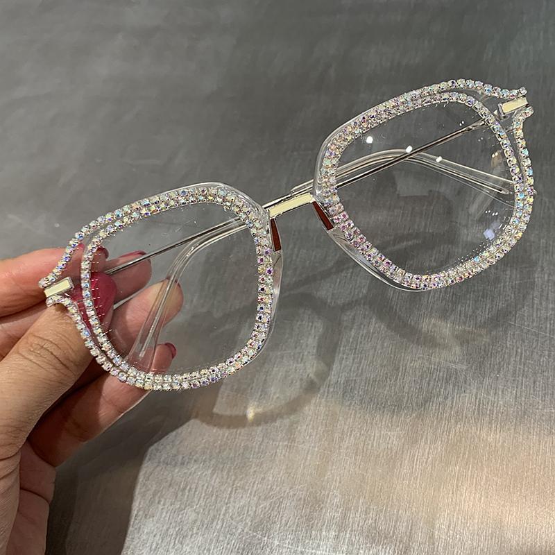 UV400 선글래스 라인 석 고양이 눈 선글라스 여성을위한 브랜드 디자이너 그늘 태양 안경 남자 빈티지 금속 투명 안경