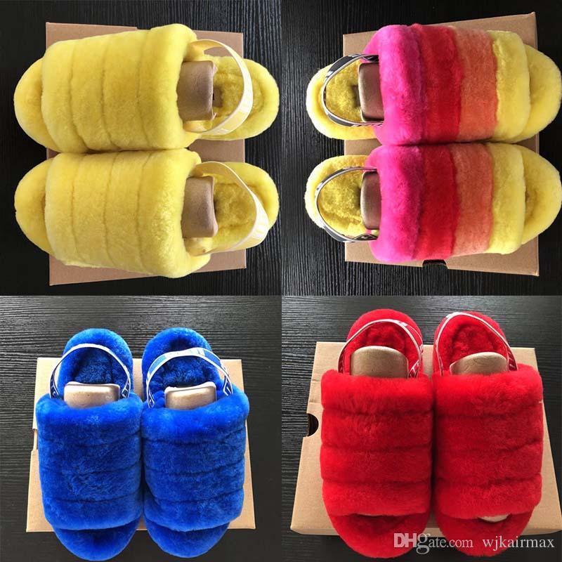 Fluff Yeah Slide Neon Yellow Pantoufle azul Zapatillas peludas de mujer Zapatilla Hausschuhe Moda de lujo Pantoufles de Designer Mujer Sandalias