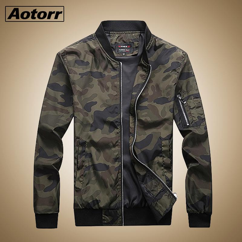 Aotorr 2019 New Autumn Hommes Camouflage Vestes Hommes Manteaux Camo Bomber Jacket Mens Marque Vêtements Outwear Plus La Taille M-7XL