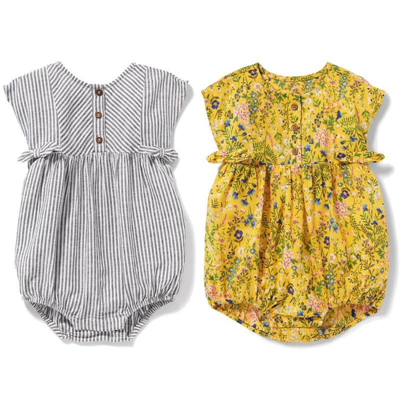 3-24M Neonato I bambini della ragazza del neonato senza maniche di cotone svegli della tuta della tuta Outfit vestiti del bambino