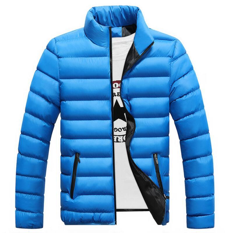 Homens inverno quente Moda de Nova Zipper suporte Brasão Collar luz Jacket Casacos Casual Overcoat Tamanho M-4XL