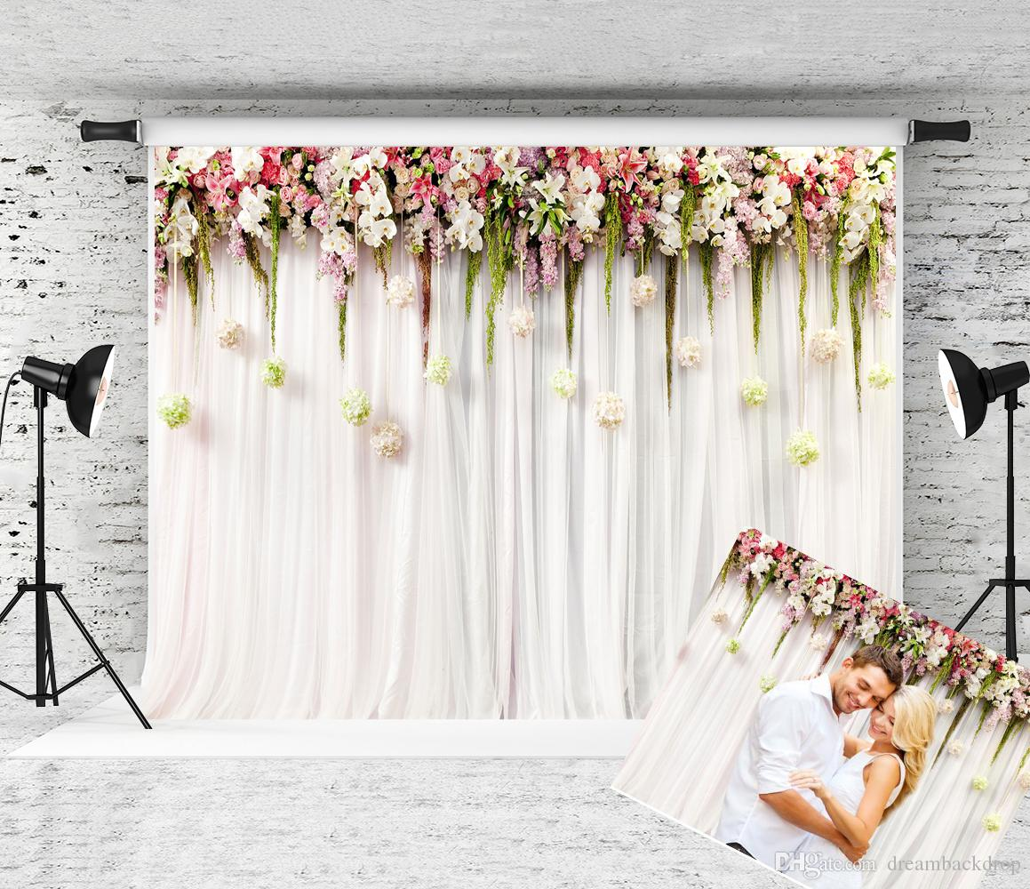 2019 Dream 7x5ft White Curtain Wedding Photography Backdrop Pink White Floral Wall Decor Photo Background For Birthday Party Shoot Studio Prop From