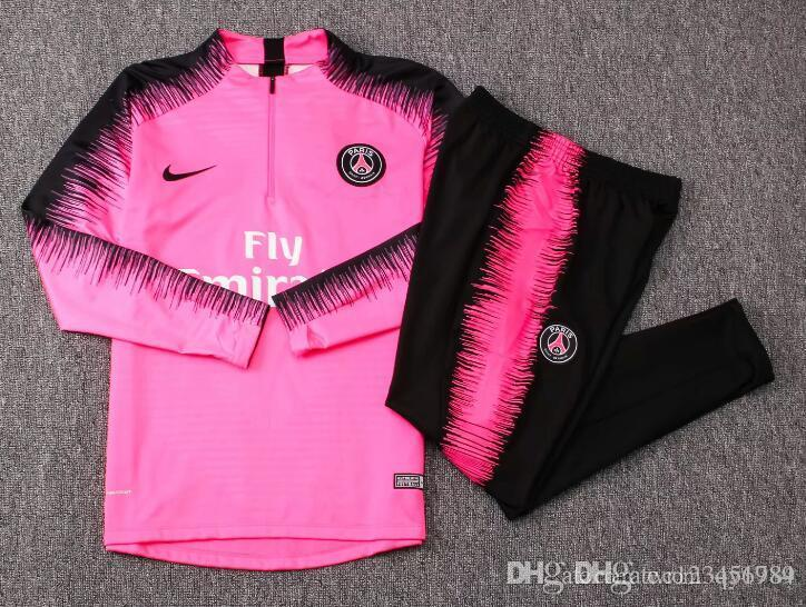 grosshandel psg pink erwachsene fussball trainingsanzug set 2018 2019 paris trainingsanzuge 18 19 mbappe lucas home football jacket kit traininganzug