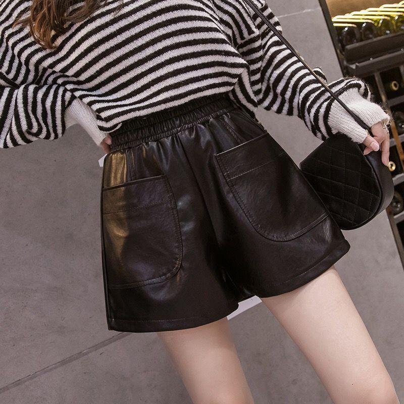 Short en cuir PU cuir femmes Pantalon à taille jambe large Pantalon 2020 Nouveau mode d'hiver en vrac Big Yards Shorts de vêtements d'extérieur