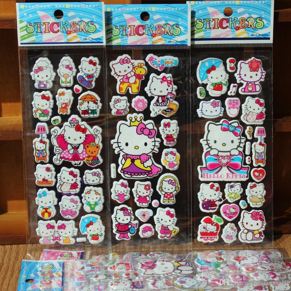 New 100pcs/lot Bubble Stickers 3D Cartoon Hello Kitty Animals Cat Classic Toys Scrapbook For Kids Children Gift Reward Sticker
