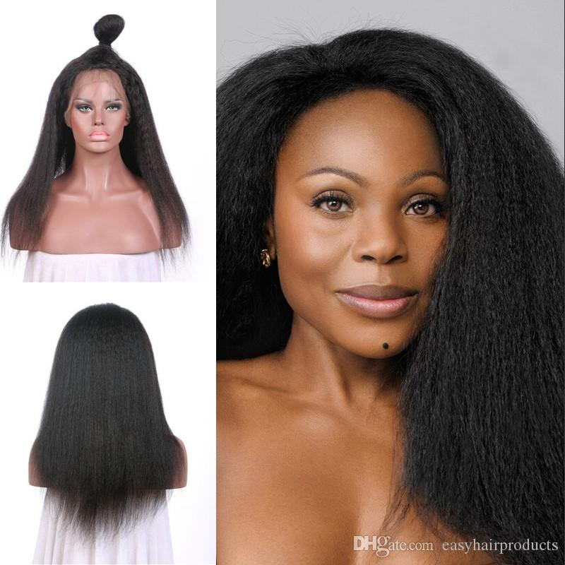 Beautiful Style Kinky Straight Lace Front Wigs 10-26inch Natural Black For Black Women Unprocessed Brazilian Human Hair G-EASY