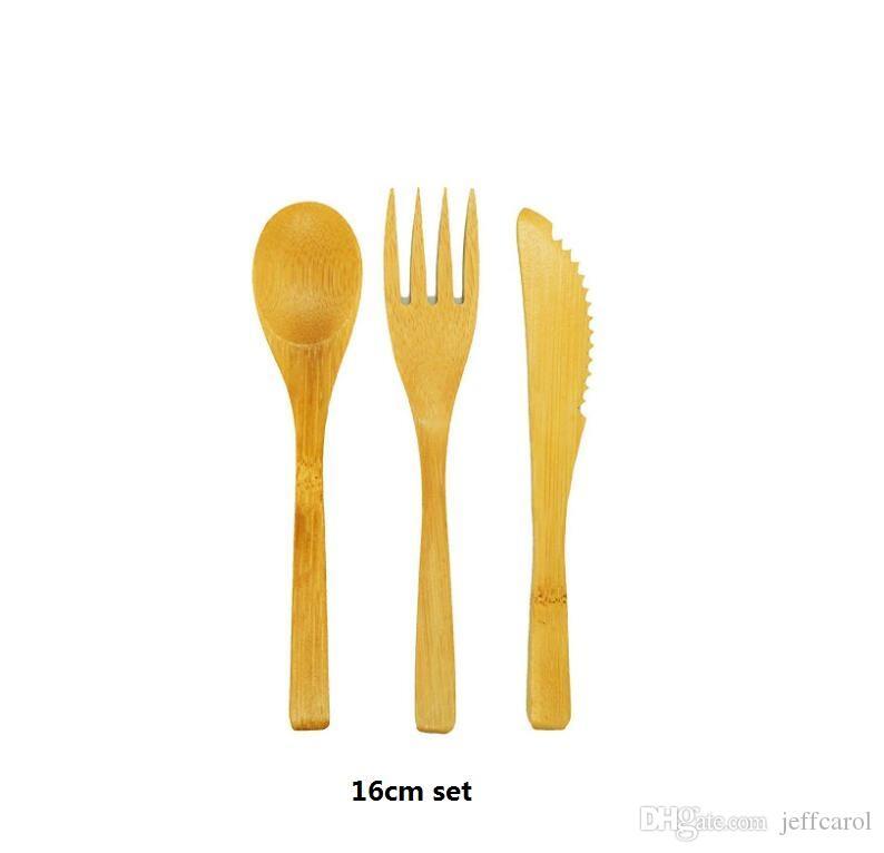 NUEVA LLEGADA Vajilla de bambú 300 piezas (100 juegos) Cuchara de bambú 100% natural Tenedor Juego de vajilla de madera